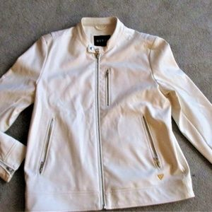 NWT GUESS Fashion Faux Leather Jacket   White  L